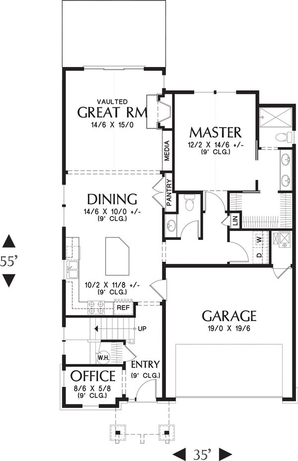 Craftsman Floor Plan - Main Floor Plan Plan #48-660
