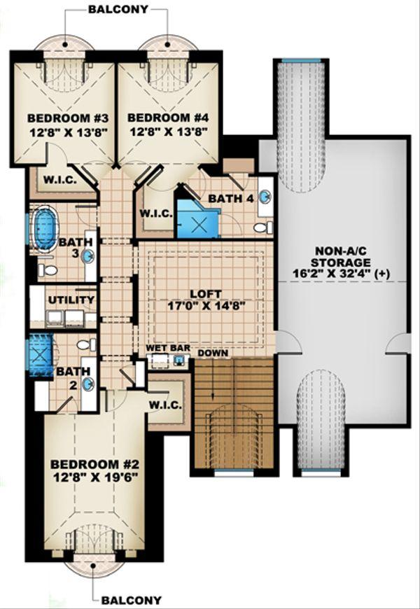 European Floor Plan - Upper Floor Plan Plan #27-449
