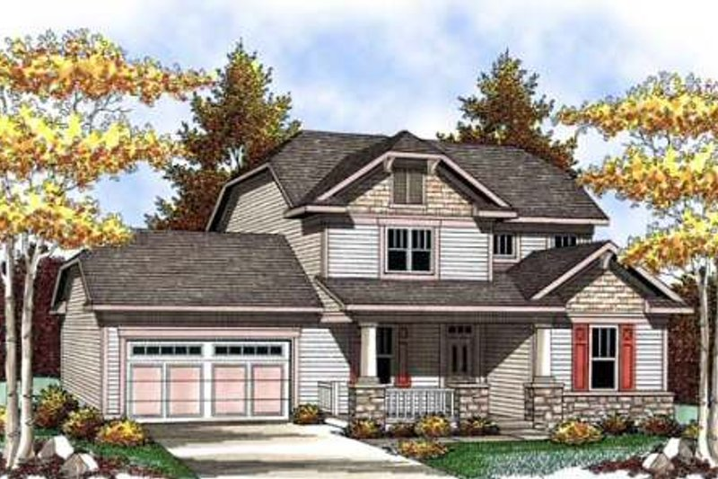 Craftsman Exterior - Front Elevation Plan #70-908
