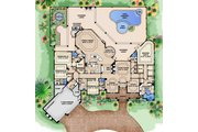 European Style House Plan - 4 Beds 5 Baths 7953 Sq/Ft Plan #27-530 Floor Plan - Main Floor Plan
