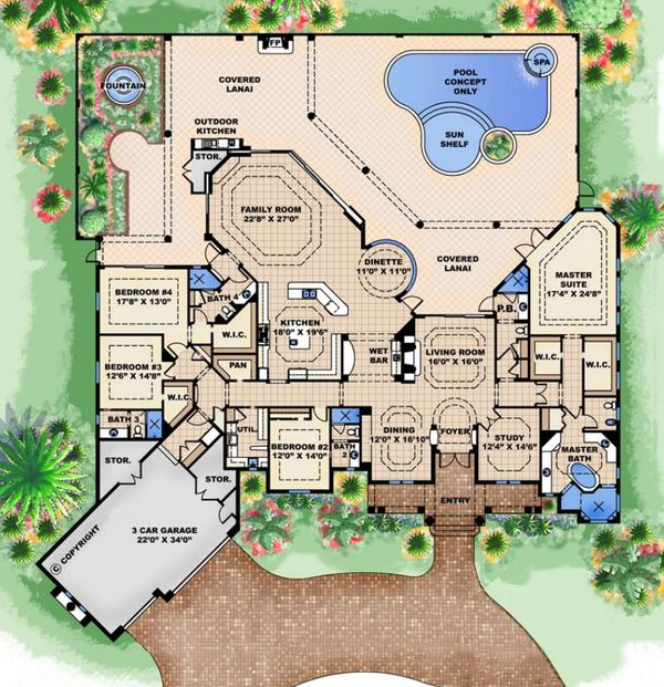 European Floor Plan - Main Floor Plan Plan #27-530