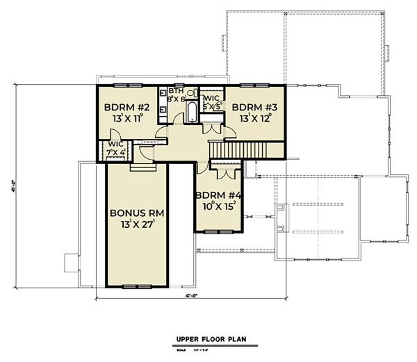 Craftsman Floor Plan - Upper Floor Plan Plan #1070-43