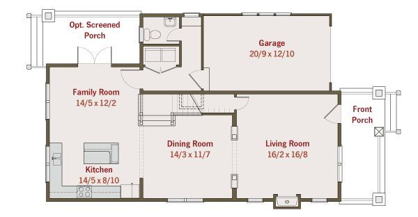 Craftsman Floor Plan - Main Floor Plan Plan #461-25