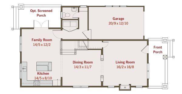 Craftsman Floor Plan - Main Floor Plan #461-25