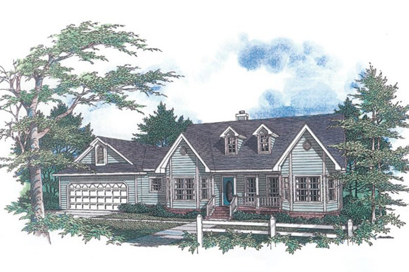 Country Style House Plan - 3 Beds 2 Baths 1652 Sq/Ft Plan #14-122 Exterior - Front Elevation