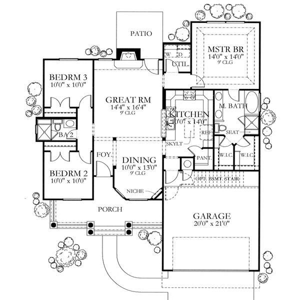 Mediterranean Floor Plan - Main Floor Plan Plan #80-104