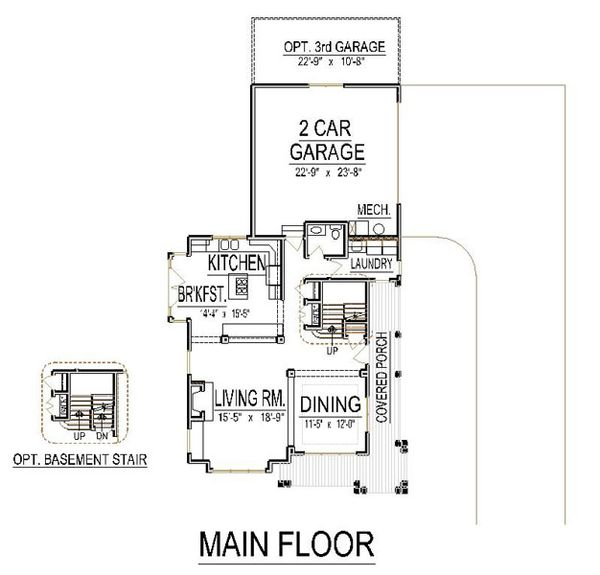Craftsman Floor Plan - Main Floor Plan Plan #458-15