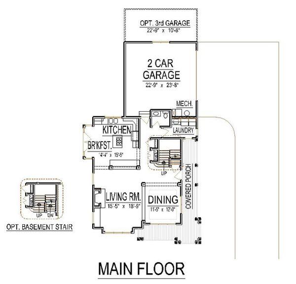 Craftsman Floor Plan - Main Floor Plan Plan #458-15