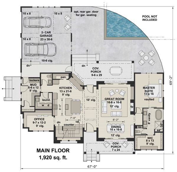 Farmhouse Floor Plan - Main Floor Plan Plan #51-1136