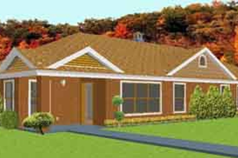 Ranch Style House Plan - 3 Beds 2.5 Baths 2367 Sq/Ft Plan #408-101 Exterior - Front Elevation