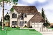 European Style House Plan - 4 Beds 3 Baths 2163 Sq/Ft Plan #405-101 Exterior - Front Elevation