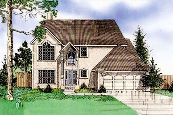 European Exterior - Front Elevation Plan #405-101