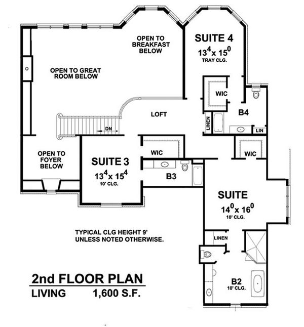European Floor Plan - Upper Floor Plan Plan #20-2388