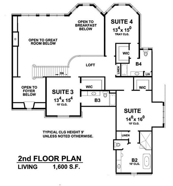 Dream House Plan - European Floor Plan - Upper Floor Plan #20-2388