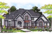 European Style House Plan - 4 Beds 3.5 Baths 3688 Sq/Ft Plan #70-535 Exterior - Front Elevation