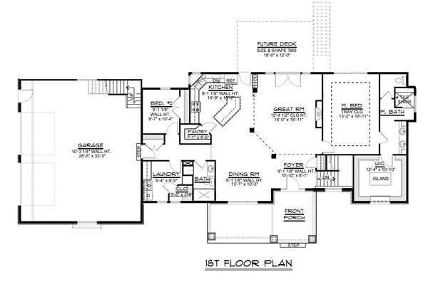 Craftsman Floor Plan - Main Floor Plan #1064-30