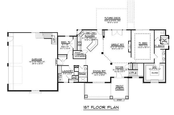 Craftsman Floor Plan - Main Floor Plan #1064-30
