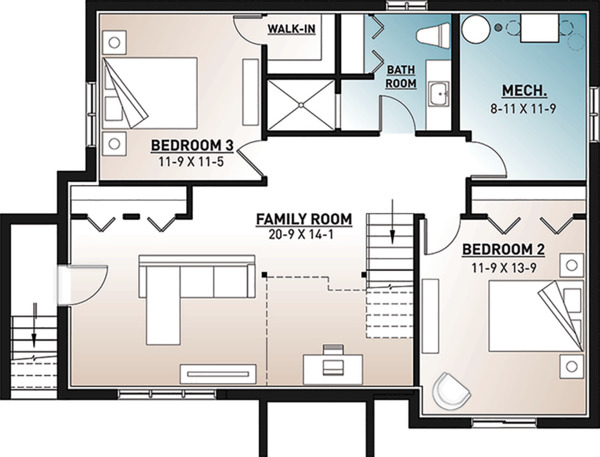 Home Plan - Country Floor Plan - Lower Floor Plan #23-2685