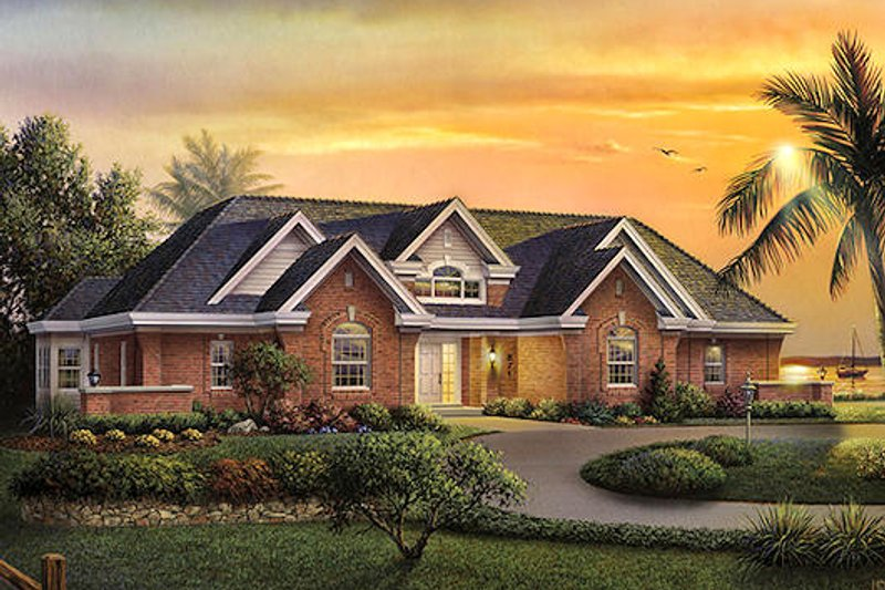 Traditional Style House Plan - 3 Beds 2.5 Baths 2210 Sq/Ft Plan #57-372 Exterior - Front Elevation