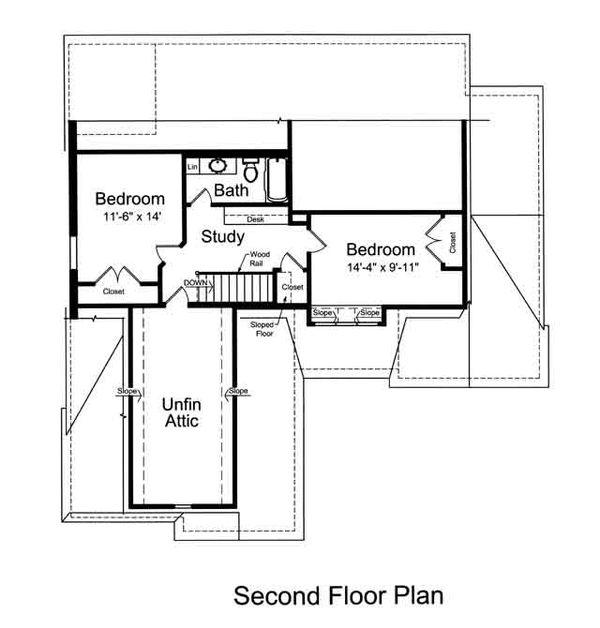 Farmhouse Floor Plan - Upper Floor Plan Plan #46-489