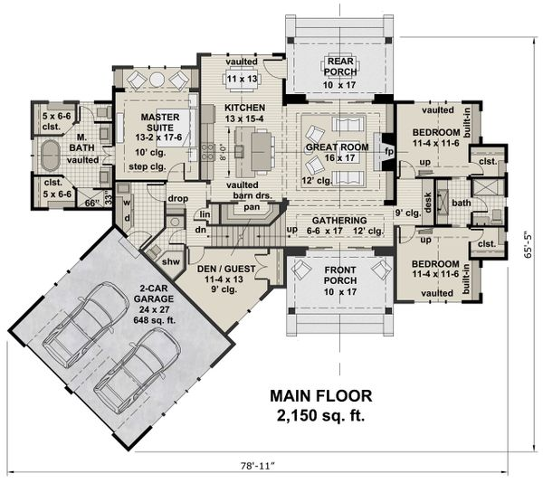 Farmhouse Floor Plan - Main Floor Plan Plan #51-1135