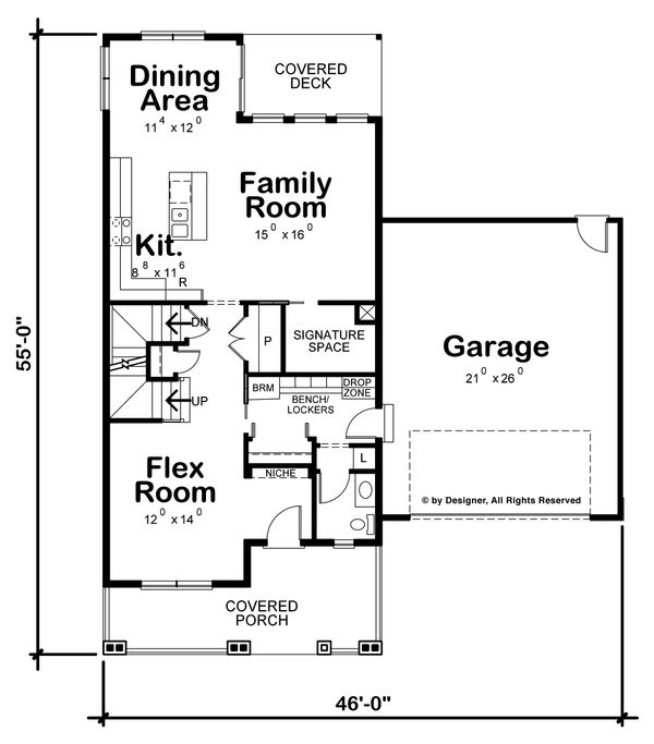 Architectural House Design - Traditional Floor Plan - Main Floor Plan #20-2263