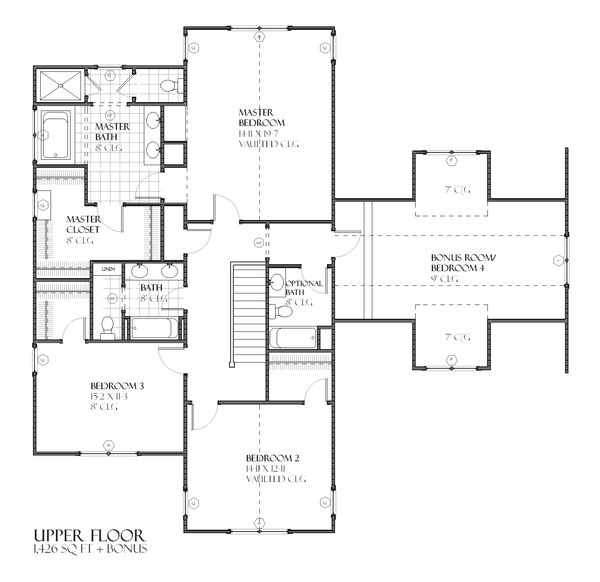 Craftsman Floor Plan - Upper Floor Plan #901-55