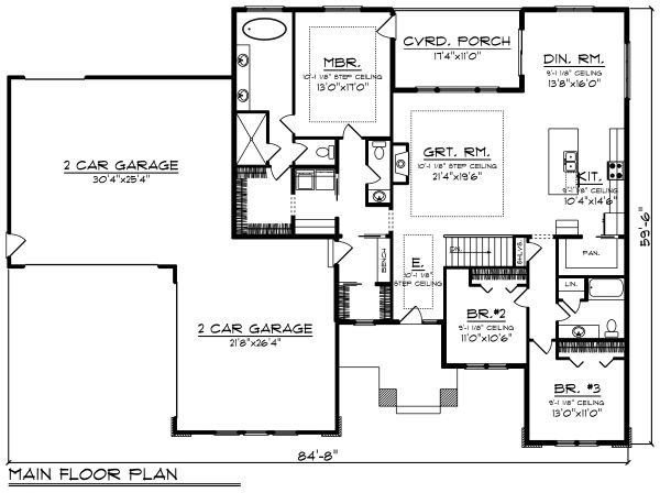 Ranch Floor Plan - Main Floor Plan Plan #70-1495