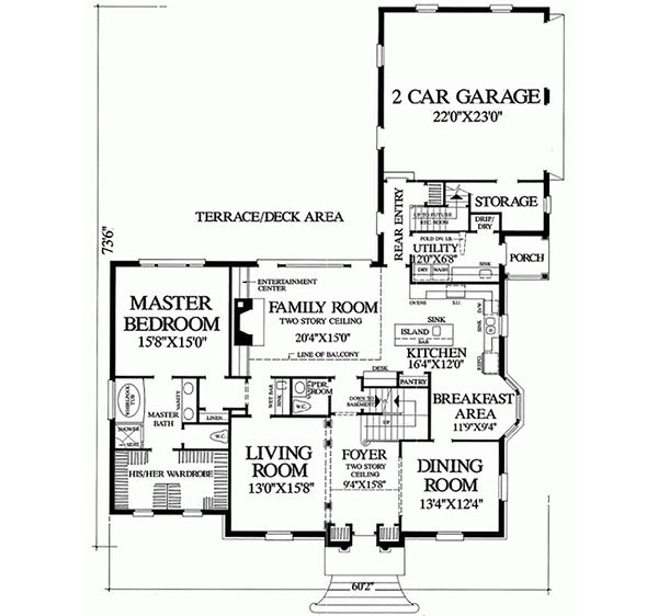 Colonial Floor Plan - Main Floor Plan Plan #137-108