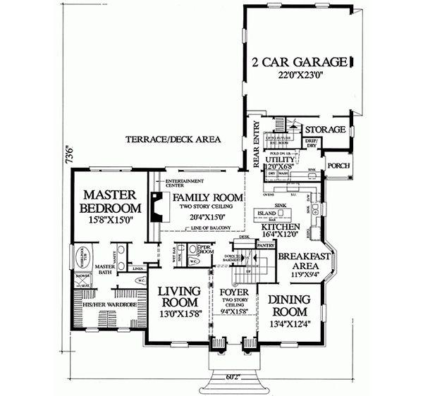 Colonial Floor Plan - Main Floor Plan Plan #137-108