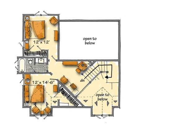 Cabin Floor Plan - Upper Floor Plan #942-40