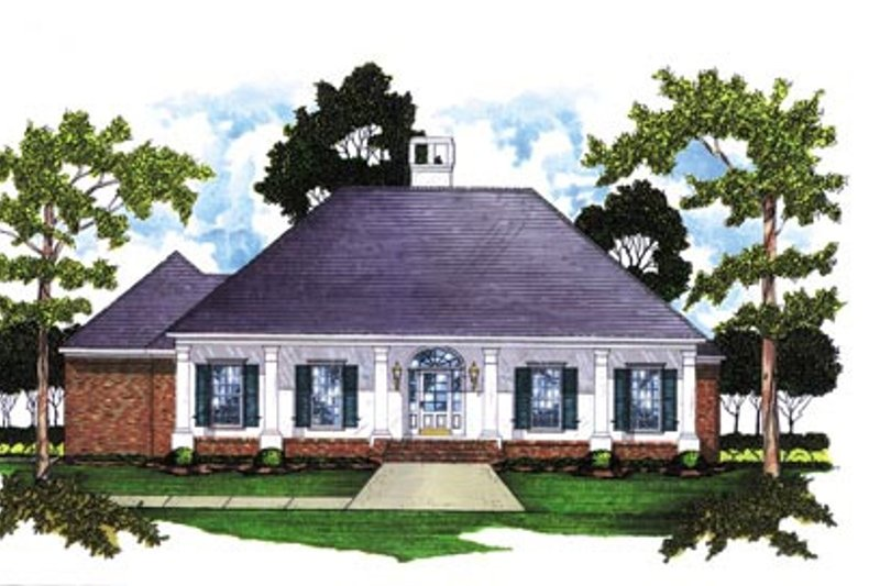 Southern Style House Plan - 4 Beds 2 Baths 1861 Sq/Ft Plan #36-163 Exterior - Front Elevation