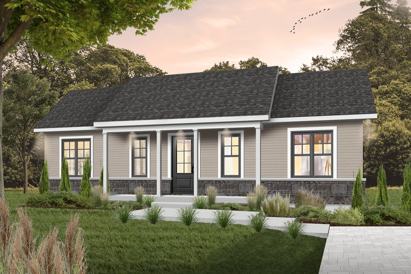 Colonial Style House Plan - 3 Beds 1 Baths 1053 Sq/Ft Plan #23-103 Exterior - Front Elevation