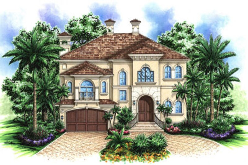 Mediterranean Style House Plan - 7 Beds 4 Baths 4370 Sq/Ft Plan #27-383 Exterior - Front Elevation