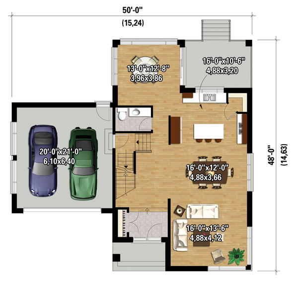 Contemporary Floor Plan - Main Floor Plan Plan #25-4263