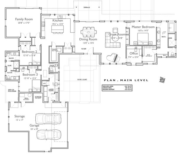 Contemporary Floor Plan - Main Floor Plan Plan #892-9