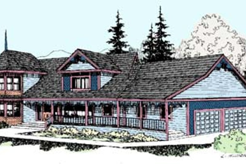 Country Style House Plan - 4 Beds 2.5 Baths 2765 Sq/Ft Plan #60-549 Exterior - Front Elevation