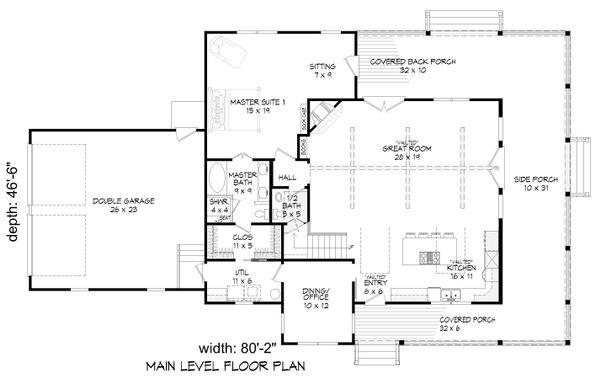 Farmhouse Floor Plan - Main Floor Plan #932-137