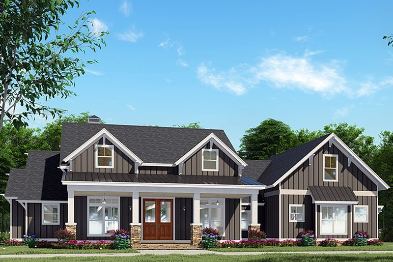 Craftsman Style House Plan - 3 Beds 2.5 Baths 2269 Sq/Ft Plan #923-133 Exterior - Front Elevation