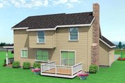 Traditional Style House Plan - 3 Beds 2.5 Baths 1536 Sq/Ft Plan #75-128 Exterior - Rear Elevation