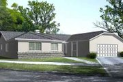 Mediterranean Style House Plan - 3 Beds 2.5 Baths 2077 Sq/Ft Plan #1-1417 Exterior - Front Elevation