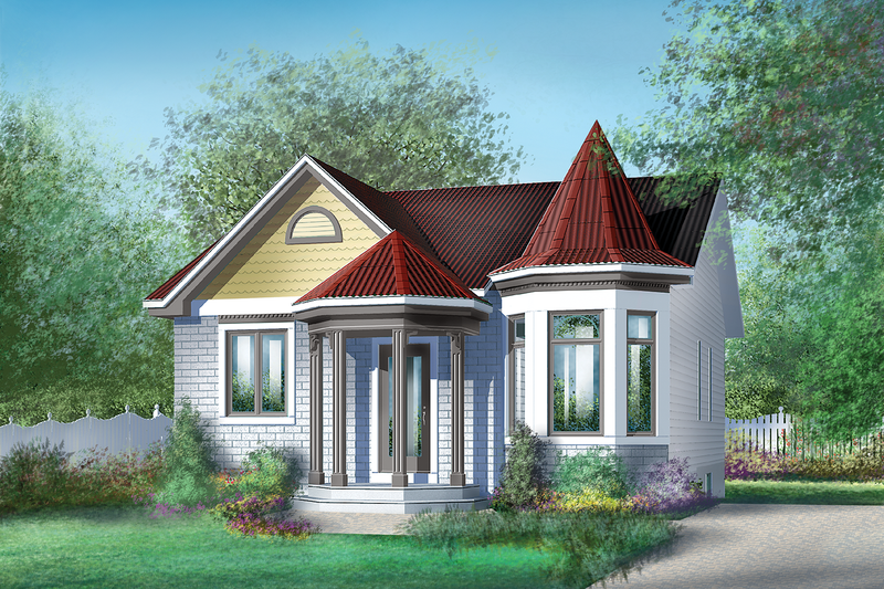 Cottage Style House Plan - 2 Beds 1 Baths 962 Sq/Ft Plan #25-1224 Exterior - Front Elevation