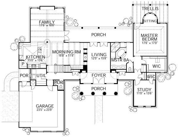 House Plan Design - Colonial Floor Plan - Main Floor Plan #80-181
