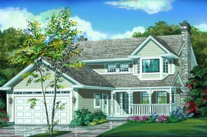 Traditional Style House Plan - 3 Beds 2.5 Baths 1748 Sq/Ft Plan #47-133 Exterior - Front Elevation