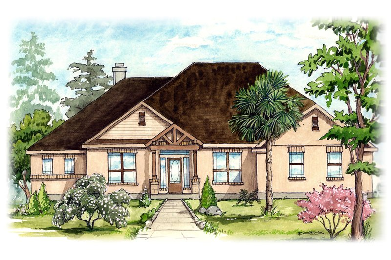 House Plan Design - Mediterranean Exterior - Front Elevation Plan #80-172