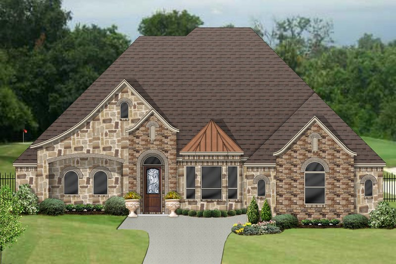 Tudor Style House Plan - 4 Beds 3.5 Baths 3702 Sq/Ft Plan #84-613 Exterior - Front Elevation