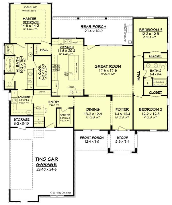 Farmhouse Floor Plan - Main Floor Plan Plan #430-189
