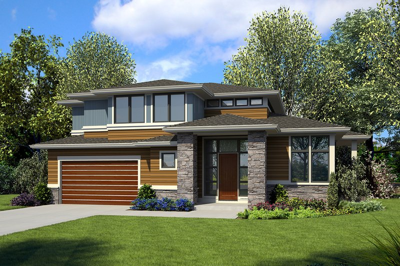Modern Style House Plan - 3 Beds 2.5 Baths 2710 Sq/Ft Plan #48-938 Exterior - Front Elevation