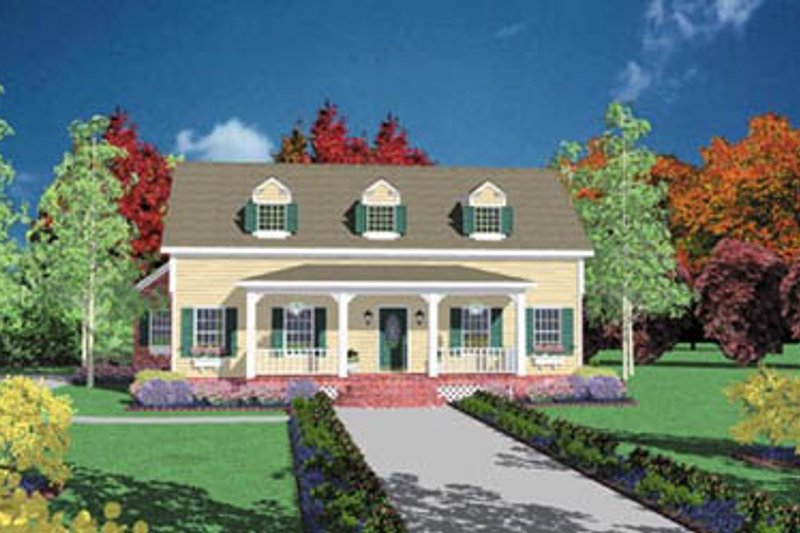 Farmhouse Style House Plan - 4 Beds 3 Baths 2442 Sq/Ft Plan #36-215 Exterior - Front Elevation