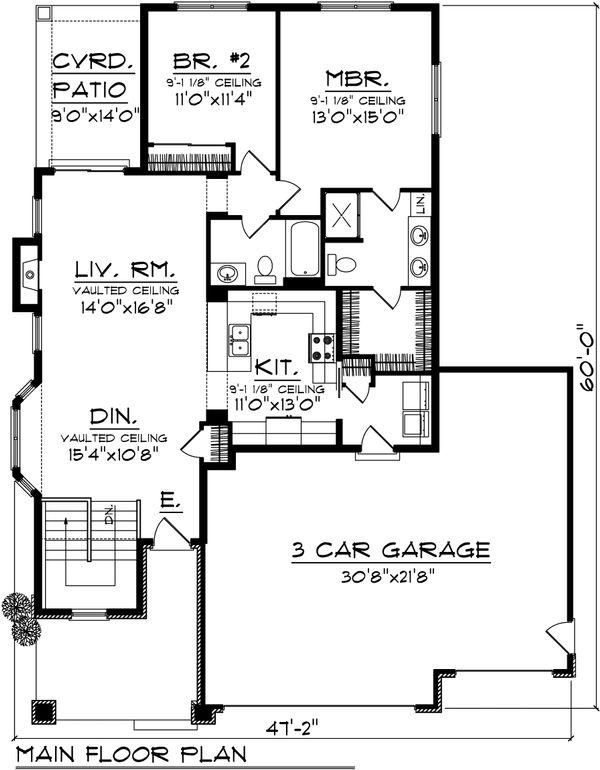 Ranch Floor Plan - Main Floor Plan Plan #70-1019